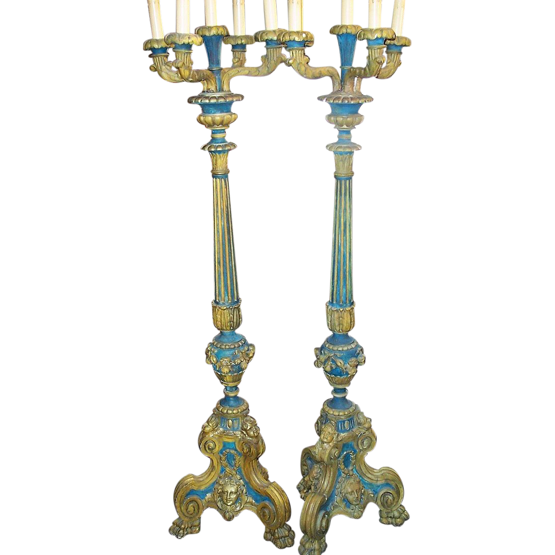 Venetian Blue - yellow painted torchieres or tall candelabra