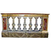 An Italian or French faux painted console, formerly a balustrade