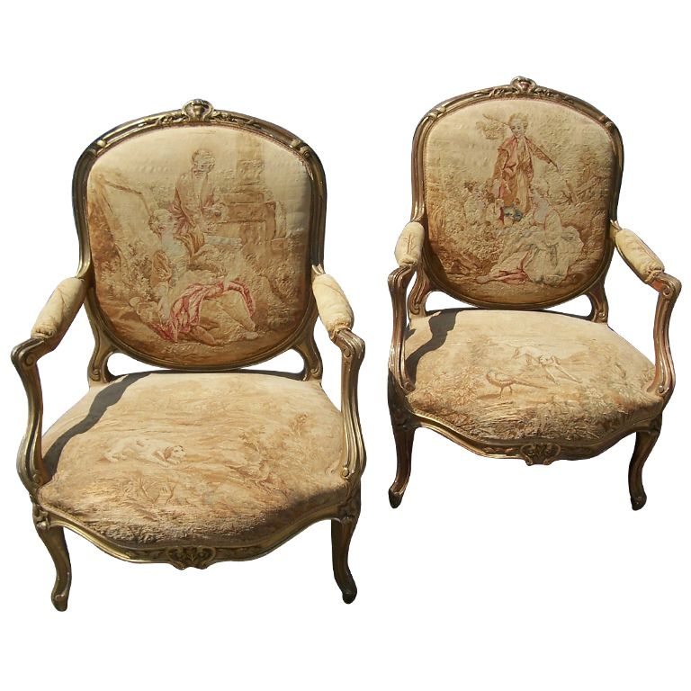 pair of louis xv gilt fauteuil armchair w aubusson style tapestry from prisonersoftaste on. Black Bedroom Furniture Sets. Home Design Ideas