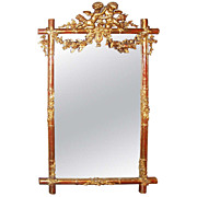 Giltwood Faux Bamboo Mirror with Cherubs / Putti