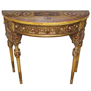 Italian Paint and Parcel Gilt Demilune Neoclassical Console Table