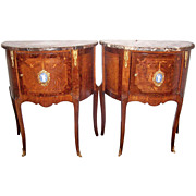 Pair of  Inlaid Louis XVI Styled Commodes or Chests