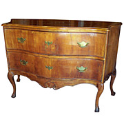 Large Italian Walnut Serpentine Front Rococo Style Commode