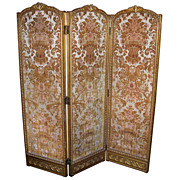 Italian or French Louis XVI Style Giltwood Screen in Cut Silk Velvet