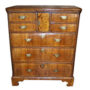 An English George II 7 Drawer Burl Walnut and Oak Chest