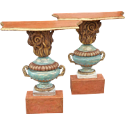 Pair of Italian Carved Painted Wooden Consoles