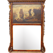 English Walnut Giltwood Trumeau Mirror with Seascape Oil , Georgian