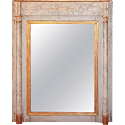 Gustavian Faux Marble and Giltwood Trumeau Mirror