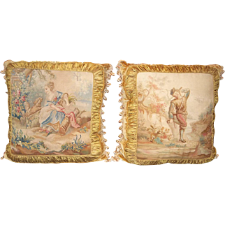 Pair Aubusson Tapestry Panels Fitted as Pillows