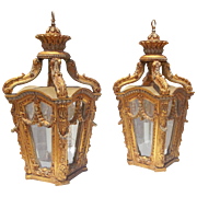 A Pair of Italian Rococo Styled Giltwood Lanterns