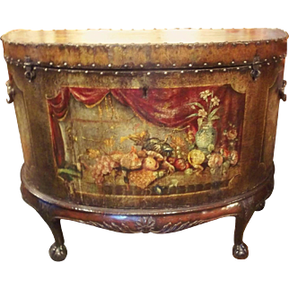 English Painted Leather Chest on Stand of Demilune Shape