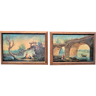 Pair of Colorful Italian Landscapes or Capriccio Oil on Canvas