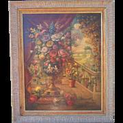 Italian  Floral Oil on Canvas