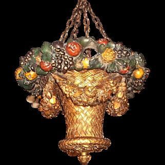 Painted and Gilt Uplight Hanging Basket Chandelier Lantern
