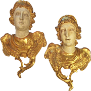Carved  Pair of Giltwood Angels or Cherubs in Full Lifesize Bust Relief
