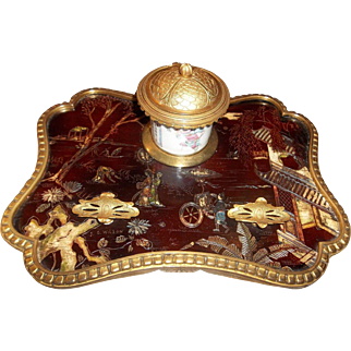 Louis XV Style Japanned or Chinoiserie Decorated  Lacquer Inkwell