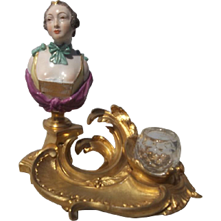 Louis Xv Style Gilt Bronze Inkwell with Porcelain Bust