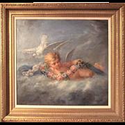 Boucher Styled Cherub or Putti Frolicking Oil on Canvas