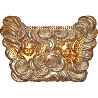 Large Architectural Giltwood Fragment Panel With Putti Or Cherubs
