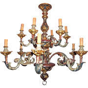 Painted Carved Wood 12 Light Chandelier in 18th Century Rococo Style