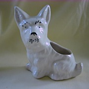 Vintage White Scottish Terrier Dog Figurine Planter
