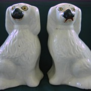 Pair of Small Staffordshire White Dogs 19th Century