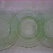 "Depression Glass Hazel Atlas Green ""Florentine"" No. 2 8 1/2"" Plate ( 3 )"