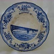 Souvenir Transferware Flow Blue Plate  St. Louis Eads Bridge