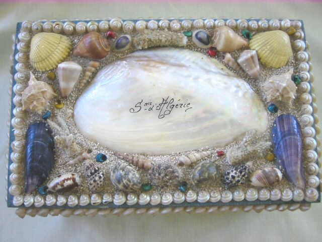 Antique Large Victorian Shell Art Box
