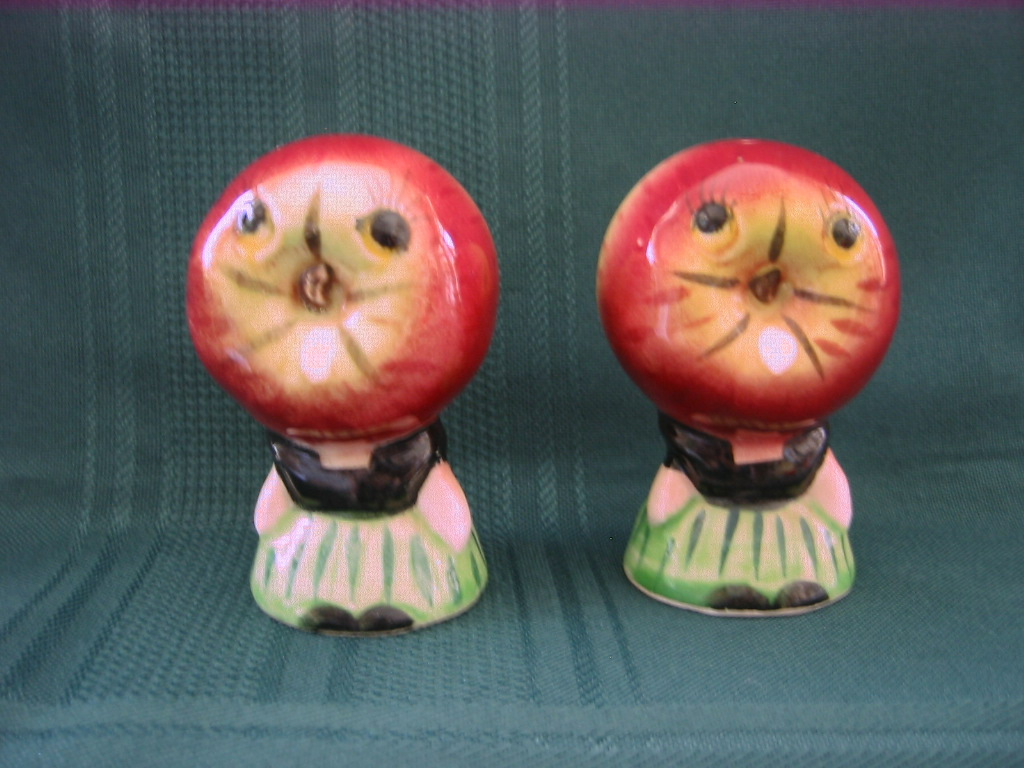 Anthropomorphic Apple Head Salt and Pepper Shakers