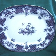 "Antique 1903 Flow Blue Platter by Thomas Furnival & Co.  Pattern ""Warick"""