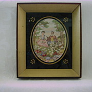 Antique 1800's Linen Canvas Needlework Stitchery Picture/Thread Painting/ Embroidered Tapestry  Couple in Country Scenery