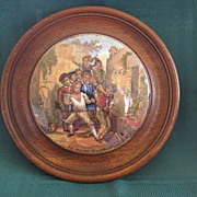 "Framed Victorian English Prattware 1800's Pot Lid "" The Wolf And The Lamb"""