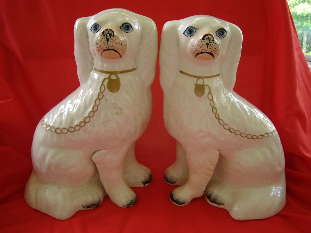 Pair of White Staffordshire Dogs 19 Century