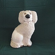 Antique Staffordshire Grainey Poodle Dog