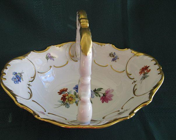Alka German  Bavaria Porcelain Handle Basket Dish - Floral