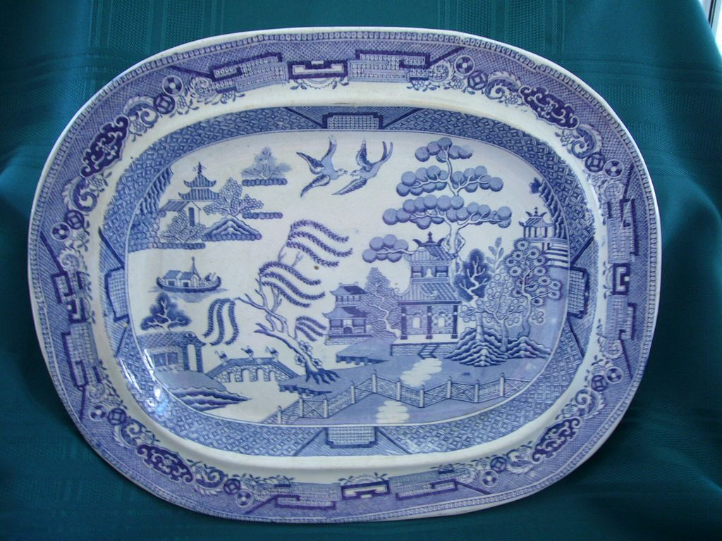 19th Century English Blue Willow Platter Linda S Enticements Antiques Ruby Lane