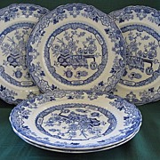 Five Antique Oriental Flow Blue Plates by Ashworth Bros. circa 1862