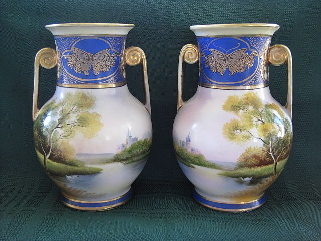 Pair Of Antique Noritake Hand Painted Mirror Vases 1908
