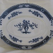 "Flow Blue Platter by Woods & Sons  Pattern ""Warwick"""