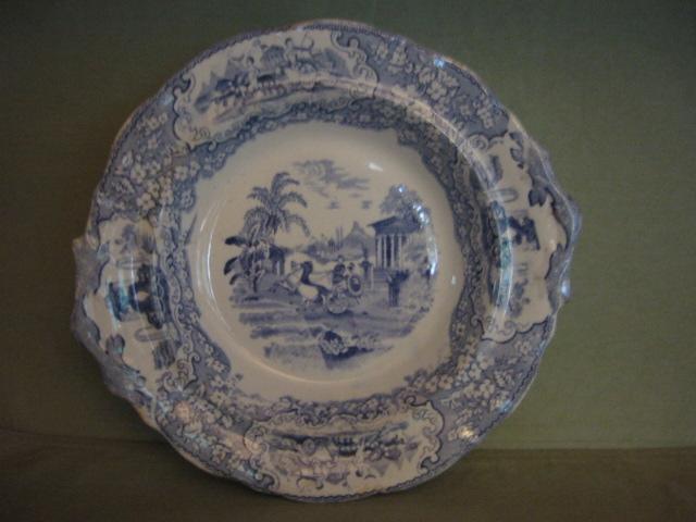 Antique Early Blue Transferware Pedestal Bowl/Compote Triumphal Car J. & M. P. Bell & Co. 1800's