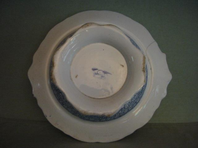 Antique Early Blue Transferware Pedestal Bowl Compote