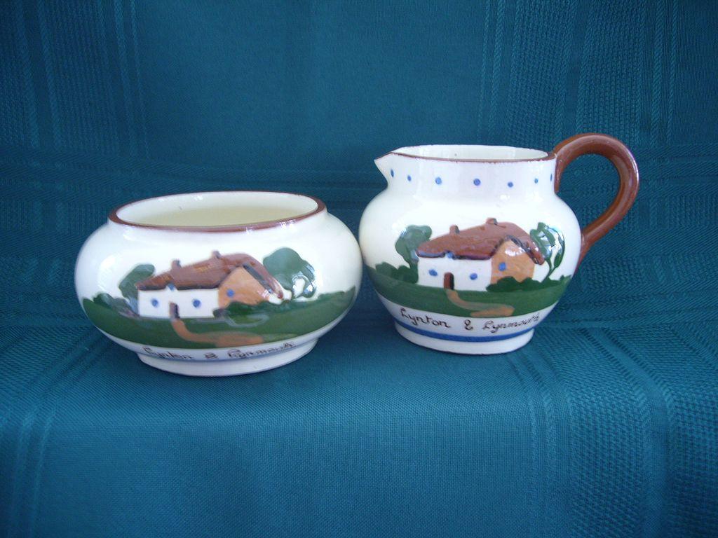 Hand Made Dartmouth Pottery Devon Torquay Motto Ware Creamer and Sugar