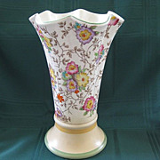 English Decoro Hand Painted Floral Pottery Vase 1933-1944