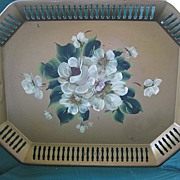 Vintage Metal Tole Tray with Hand Painted White Flowers