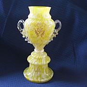 Antique Victorian Art Glass Spatter Pedestal Vase