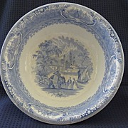 Very Large Romantic Staffordshire Blue Wash Bowl 1800's