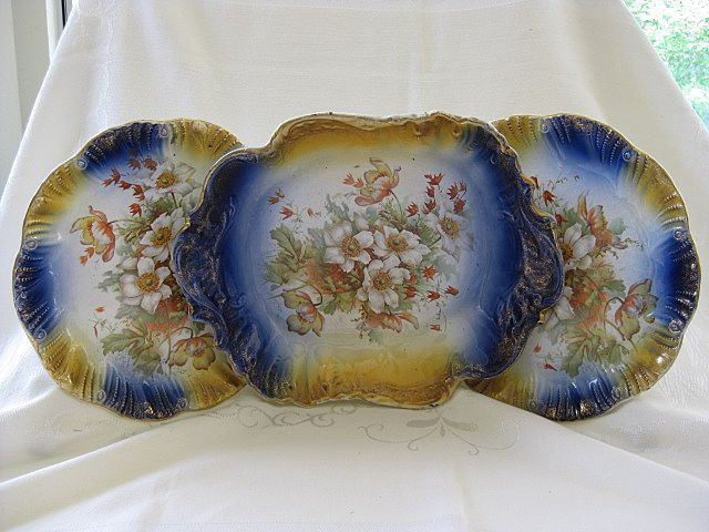 Three Piece Display Victorian China Set, Two Plates and Bowl
