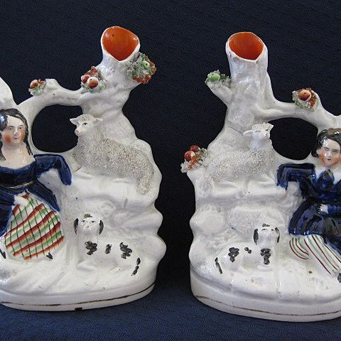 Pair of Staffordshire Figures with Animals Spill Vases  19 Century
