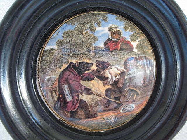 Framed Victorian English Prattware 1800's  Bears Pot Lid